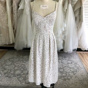 Tea-length Lace Wedding Gown by Dessy